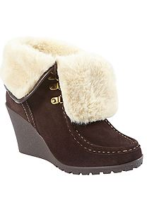 89e6ebf45e7 XTI Suede Faux Fur Trim Wedge Ankle Boot